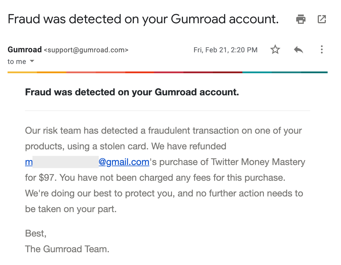 Fraud detected email