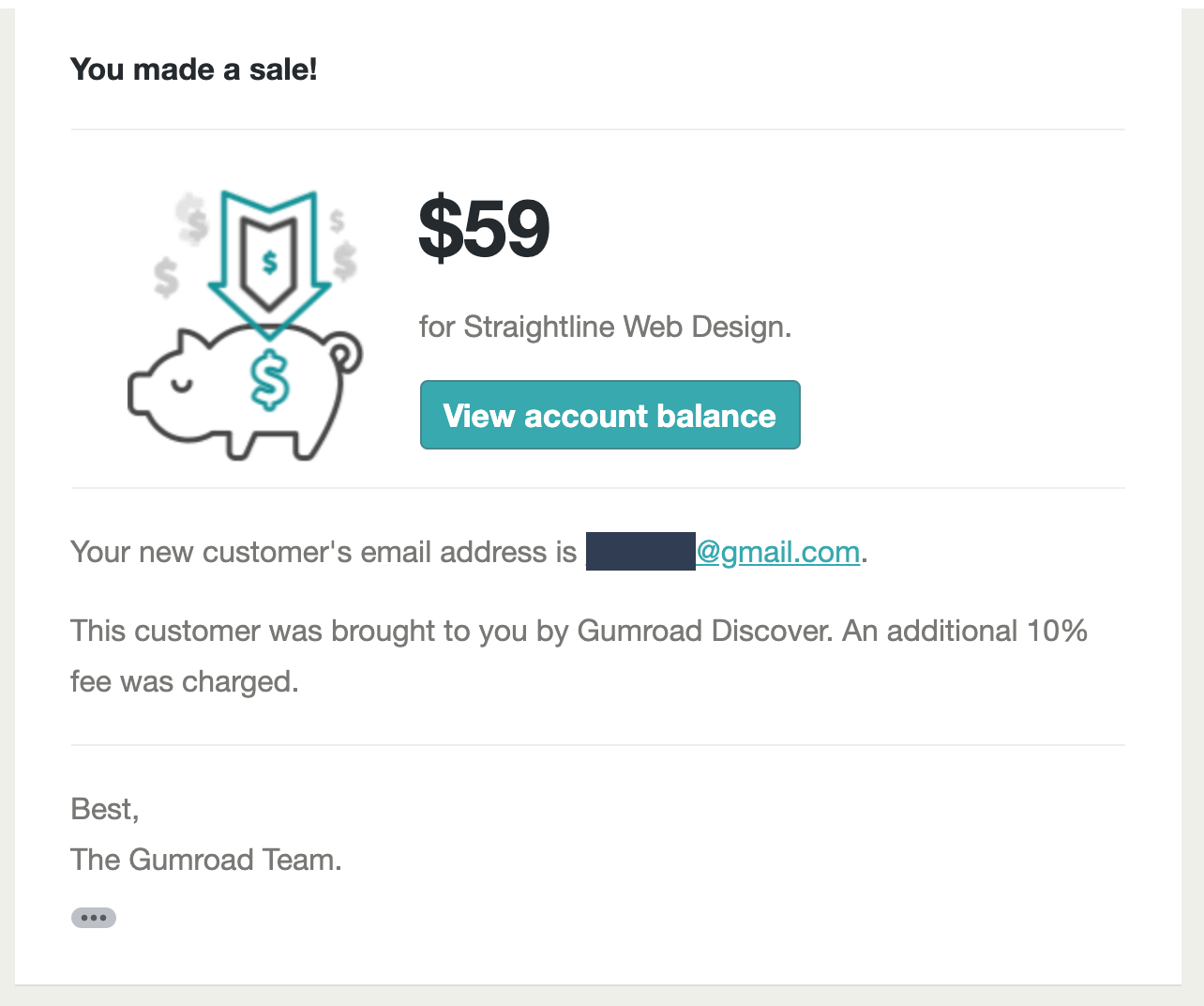You Made A Sale Email